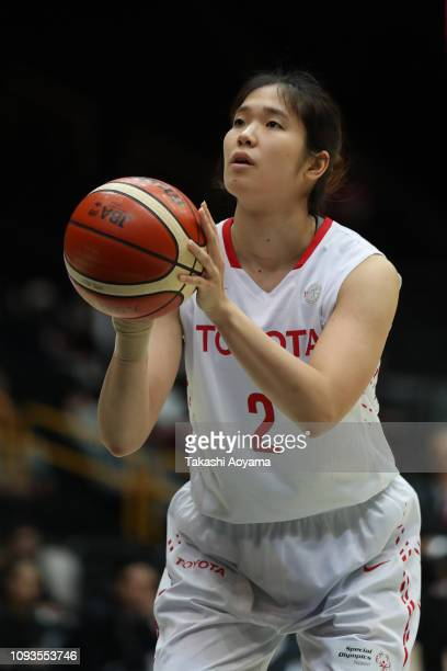 Moeko Nagaoka of Toyota Antelopes shoots a free throw during the Basketball 85th Empress's Cup Final between Toyota Antelopes and JX-Eneos Sunflowers...