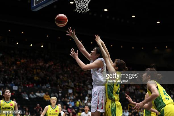 Moeko Nagaoka of Toyota Antelopes shoots during the Basketball 85th Empress's Cup Final between Toyota Antelopes and JXEneos Sunflowers at Saitama...