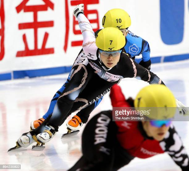 Moemi Kikuchi competes in the Women's 1000m Final B during day two of the 40th All Japan Short Track Speed Skating Championships at Nippon Gaishi...