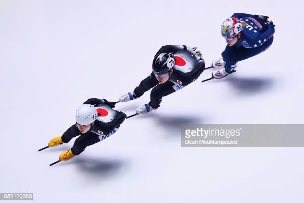 Moemi Kikuchi Hitomi Saito both of Japan and Jessica Kooreman of USA compete in the 1500m Ladies semifinal race at ISU World Short track Speed...