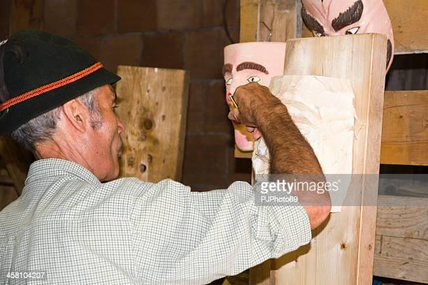 Moena (Dolomites) - Scupltor builds a wooden mask