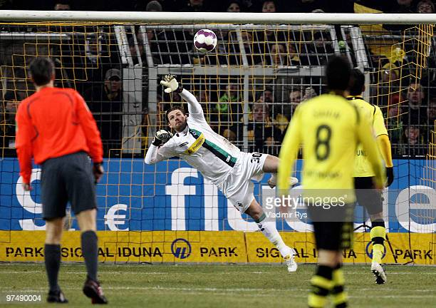Moenchengladbach keeper Logan Bailly concedes a goal scored by Mohamed Zidan of Dortmund during the Bundesliga match between Borussia Dortmund and...