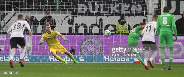 Moenchengladbach's Belgian forward Thorgan Hazard misses a penalty during the German first division Bundesliga football match Eintracht Frankfurt v...