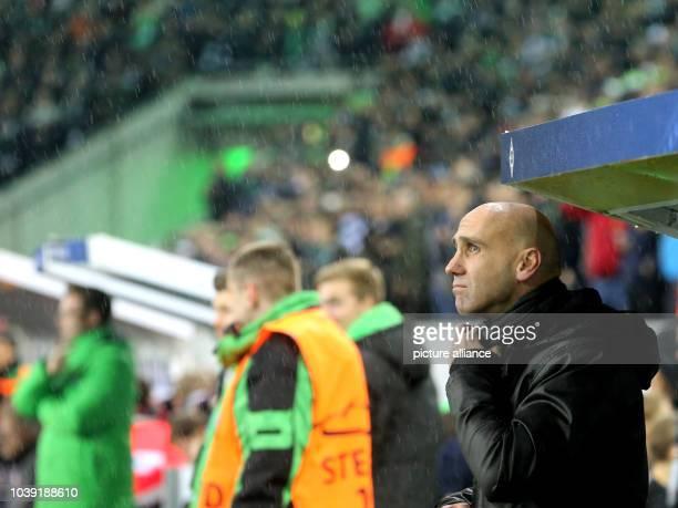 Moenchengladbach's coach Andre Schubert at the Champions League soccer match between Borussia Moenchengladbach and Sevilla FC in Borussia Park in...