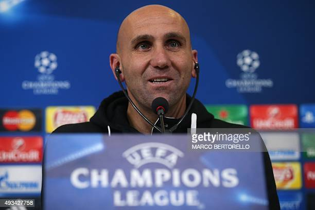 Moenchengladbach's coach Andre Schubert from Germany attends a press conference on the eve of the UEFA Champions League football match Juventus Vs...