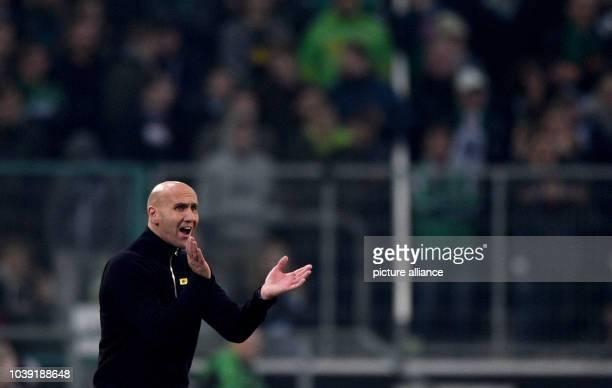 Moenchengladbach's coach Andre Schubert gestures during the Bundesliga soccer match between Borussia Moenchengladbach and 1899 Hoffenheim in the...
