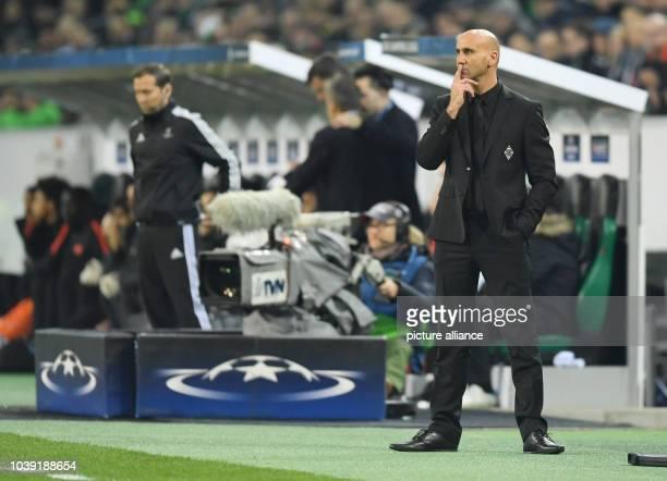 Moenchengladbach's coach Andre Schubert gestures during the Champions League match between Borussia Moenchengladbach and Manchester City om the...