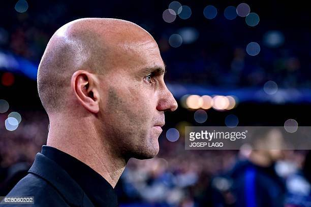 Moenchengladbach's coach Andre Schubert looks on before attending the UEFA Champions League Group C football match FC Barcelona vs Borussia...