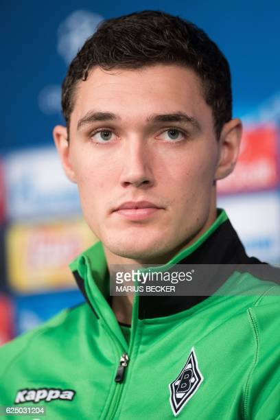 Moenchengladbach's Danish defender Andreas Christensen looks on during a press conference on the eve of the UEFA Champions league football match...
