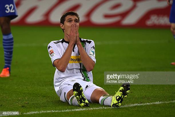 Moenchengladbach's Danish defender Andreas Christensen reacts during the German first division football Bundesliga match between Borussia...