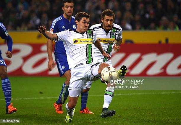 Moenchengladbach's Danish defender Andreas Christensen vies for the ball during the German first division football Bundesliga match between Borussia...