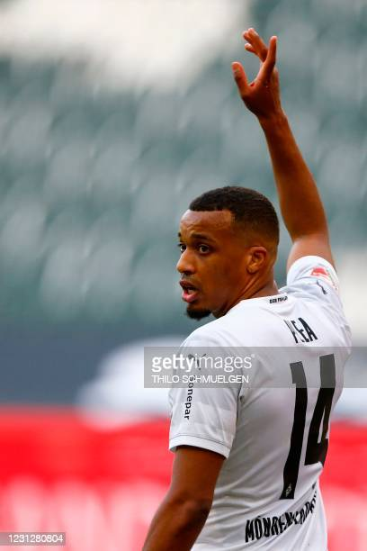 Moenchengladbach's French forward Alassane Plea reacts during the German first division Bundesliga football match Borussia Moenchengladbach vs FC...