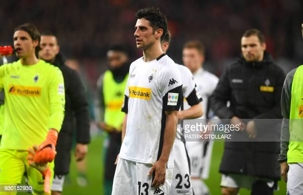 Moenchengladbach's German forward Lars Stindl reacts after the German first division Bundesliga football match Bayer 04 Leverkusen vs Borussia...