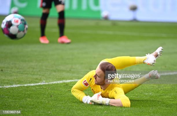 Moenchengladbach's German goalkeeper Tobias Sippel is pictured during the German first division Bundesliga football match between Borussia...