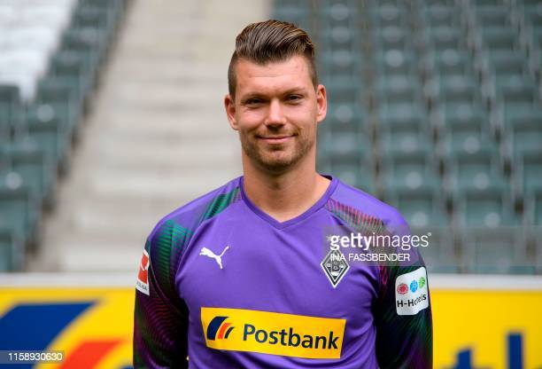 Moenchengladbach's goalkeeper Max Gruen poses for a photo during the presentation of Borussia Moenchegladbach's squad for the upcoming first...