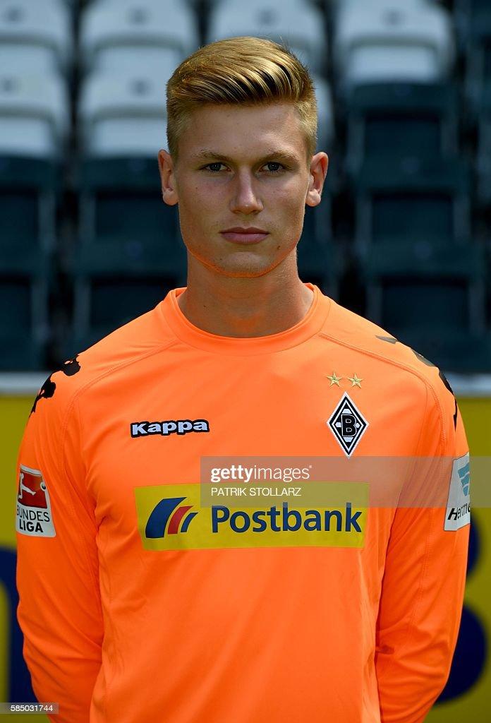Moenchengladbach's goalkeeper Moritz Nicolas poses during the team presentation of Borussia Moenchengladbach on August 1, 2016 in Moenchengladbach , western Germany. / AFP / Patrik STOLLARZ