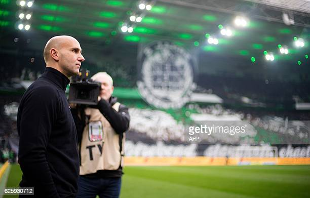 Moenchengladbach's head coach André Schubert attends the German first division football Bundesliga match between Borussia Moenchengladbach and TSG...