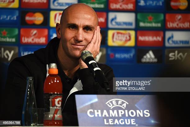 Moenchengladbach's head coach Andre Schubert adresses a press conference on the eve of the Group D, second-leg UEFA Champions League football match...