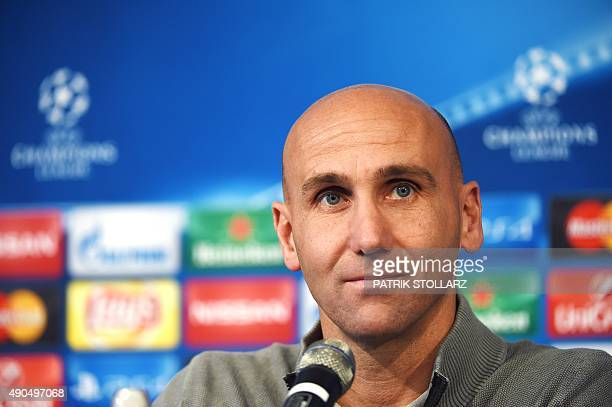 Moenchengladbach's head coach Andre Schubert attends a press conference on the eve of the Group D, first-leg UEFA Champions League football match...