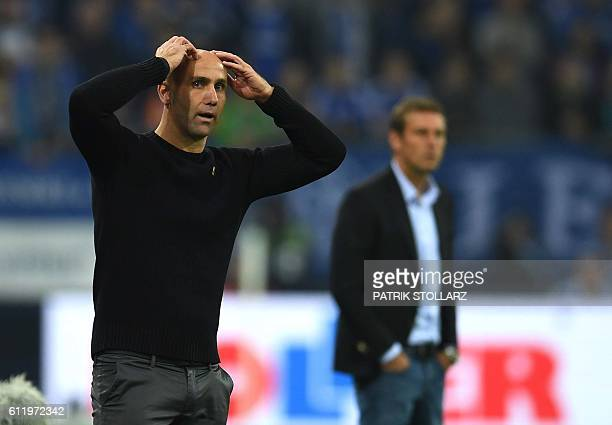 Moenchengladbach's head coach Andre Schubert reacts during the German first division Bundesliga football match of FC Schalke vs Borussia...
