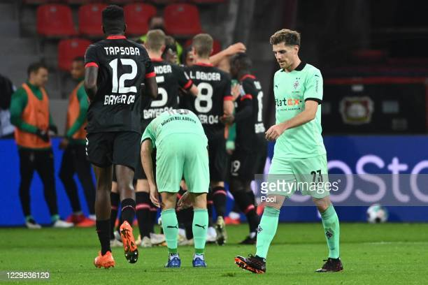Moenchengladbach's Jonas Hofmann reacts after a goal by Leverkusen during the Bundesliga match between Bayer 04 Leverkusen and Borussia...