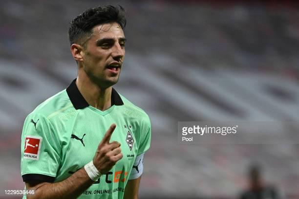 Moenchengladbach's Lars Stindl celebrates scoring a goal during the Bundesliga match between Bayer 04 Leverkusen and Borussia Moenchengladbach at...