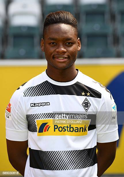 Moenchengladbach's midfielder BaMuaka Simakala poses during the team presentation of Borussia Moenchengladbach on August 1 2016 in Moenchengladbach...