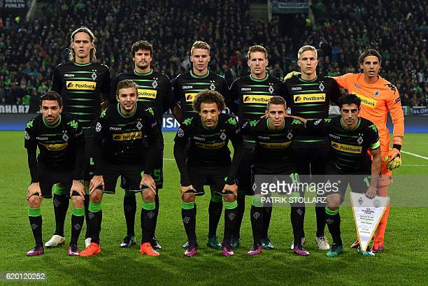 Moenchengladbach´s players defender Jannik Vestergaard midfielder Tobias Strobl Swiss defender Nico Elvedi forward Andre Hahn Swedish defender Oscar...