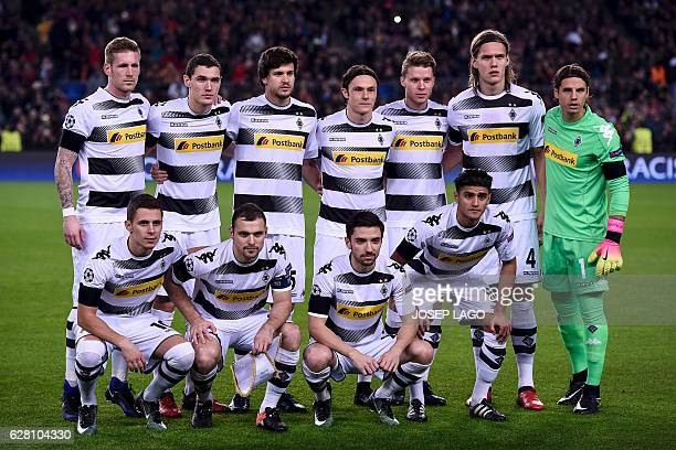 Moenchengladbach's players forward Andre Hahn Danish defender Andreas Christensen midfielder Tobias Strobl defender Nico Schulz Swiss defender Nico...