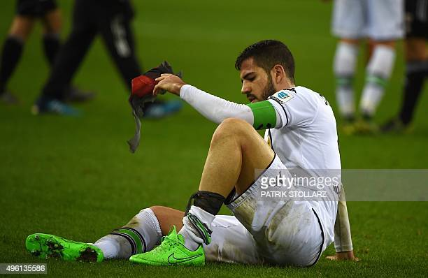 Moenchengladbach's Spanish defender Alvaro Dominguez reacts after the German first division football Bundesliga match Borussia Moenchengladbach vs FC...