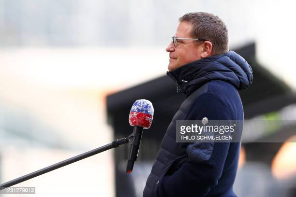 Moenchengladbach's sporting director Max Eberl gives an interview ahead of the German first division Bundesliga football match Borussia...