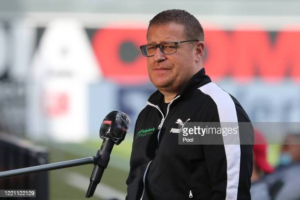 Moenchengladbach's sports director Max Eberl gives an interview prior to during the Bundesliga match between SC Paderborn 07 and Borussia...