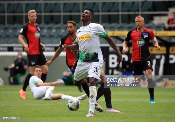 Moenchengladbach's Swiss forward Breel Embolo reacts during the German first division Bundesliga football match Borussia Moenchengladbach v Hertha...