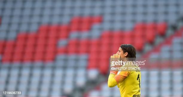 Moenchengladbach's Swiss goalkeeper Yann Sommer reacts during the German first division Bundesliga football match FC Bayern Munich v Borussia...