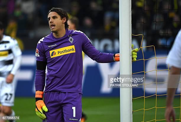 Moenchengladbach's Swiss goalkeeper Yann Sommer reacts during the German first division Bundesliga football match of Borussia Dortmund vs Borussia...