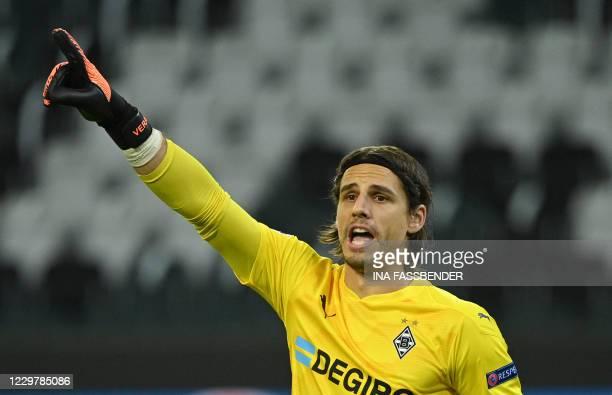 Moenchengladbach's Swiss goalkeeper Yann Sommer reacts during the UEFA Champions League group B football match Borussia Moenchengladbach v Shakhtar...