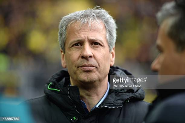 Moenchengladbach's Swiss head coach Lucien Favre looks on prior to the German first division Bundesliga football match Borussia Dortmund vs Borussia...