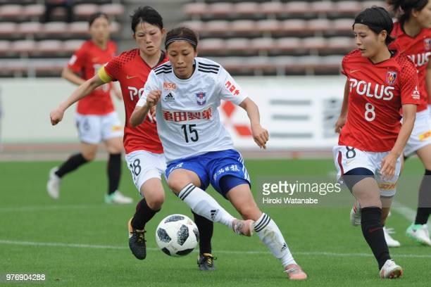 Moeno Sakaguchi of Albirex Niigata Ladies in action during the Nadeshiko Cup match between Urawa Red Diamonds Ladies and Albirex Niigata Ladies at...