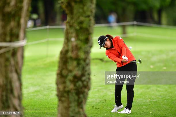 Moeno Tan of Japan hits her second shot on the 18th hole during the first round of the Nitori Ladies at Otaru Country Club on August 29 2019 in Otaru...