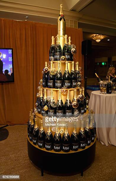Moet Chandon bottles on display during Moet Chandon toast to the 74th Annual Golden Globe Awards nominations on December 12 2016 in Los Angeles...