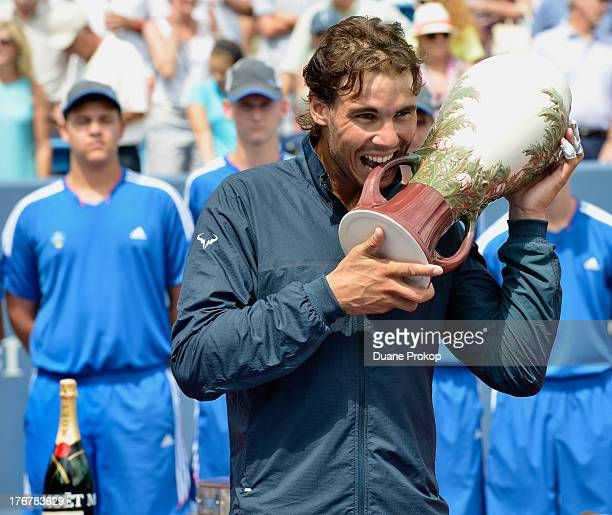 Moet Chandon the offical champagne of the Western Southern Open celebrates men's finalist Rafael Nadal at Lindner Family Tennis Center on August 18...