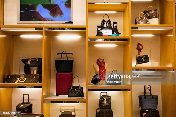 69e392e9b2ee Moet Hennessy Louis Vuitton SE bags sit on display at the Macy s Inc  flagship store in