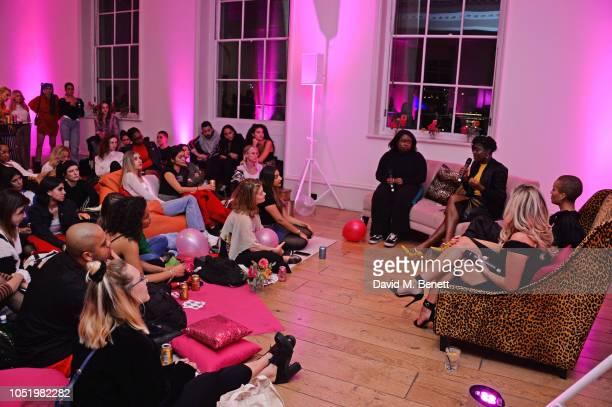 Mofe Sey Clara Amfo Adwoa Aboah and Megan Barton Hanson attend Adwoa Aboah's Gurls Talk website launch party at Somerset House on October 12 2018 in...