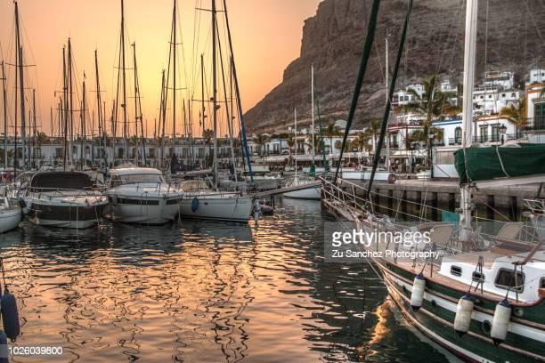 Mogan seaport at sunset