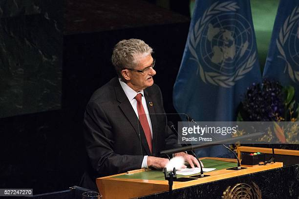 Mogens Lykketoft President of the United Nations General Assembly's 70th Session addresses the Assembly Leaders from around the world gathered in...