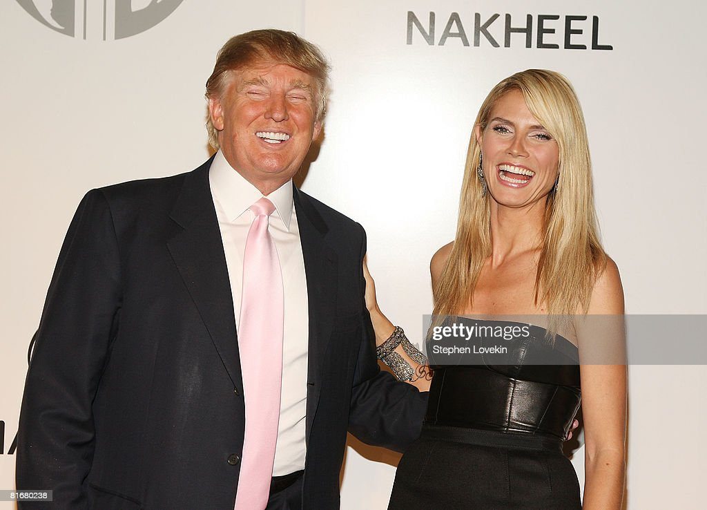 Mogul Donald Trump and model Heidi Klum attend the launch of Trump International Hotel and Tower Dubai on June 23, 2008 at the Park Avenue Plaza in New York City.