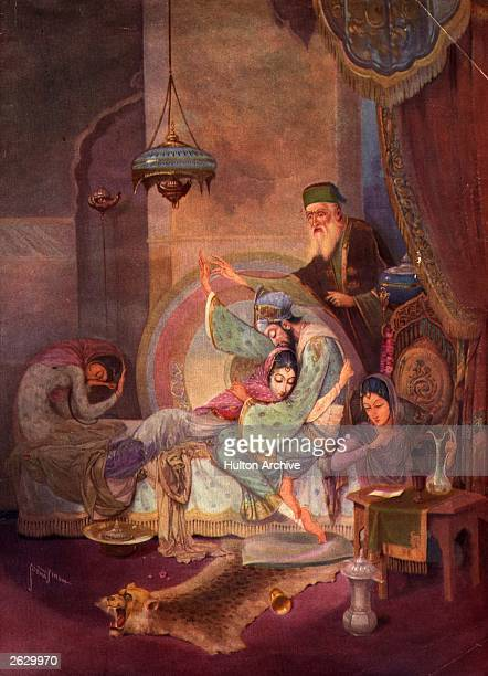 Mogul Emperor Shah Jahan embraces his dying wife, the empress Mumtaz Mahal, 1629. Her tomb is the Taj Mahal. Original Artwork: From the painting by S...