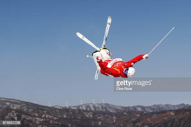 Mogul skier Daichi Hara of Japan trains ahead of the PyeongChang 2018 Winter Olympic Games at Phoenix Park on February 8 2018 in Pyeongchanggun South...