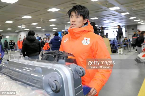 Mogul skier Ikuma Horishima of Japan is seen on arrival at Yangyang International Airport on February 4 2018 in Yangyanggun South Korea