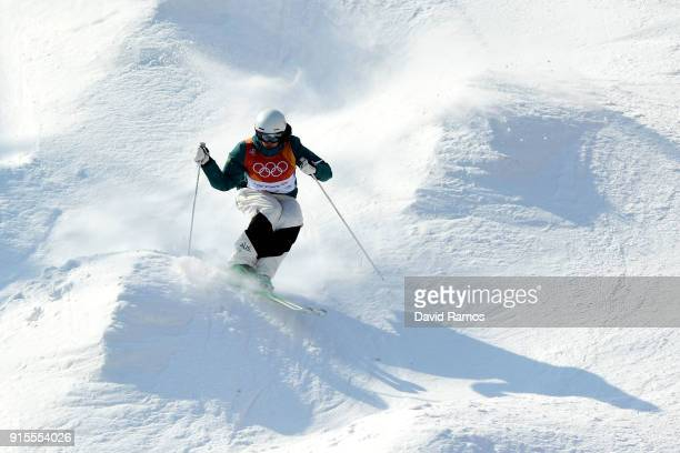 Mogul Skier Jakara Anthony of Australia trains ahead of the PyeongChang 2018 Winter Olympic Games at Phoenix Park on February 8 2018 in...
